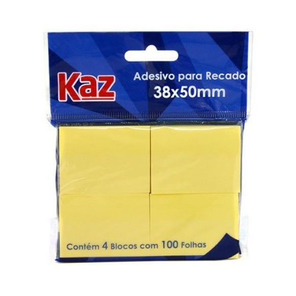 BLOCO ADESIVO 38X50MM AMARELO C/4BL C/100 FOLHAS KAZ