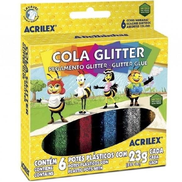 COLA GLITTER 23 GR 6 CORES ACRILEX