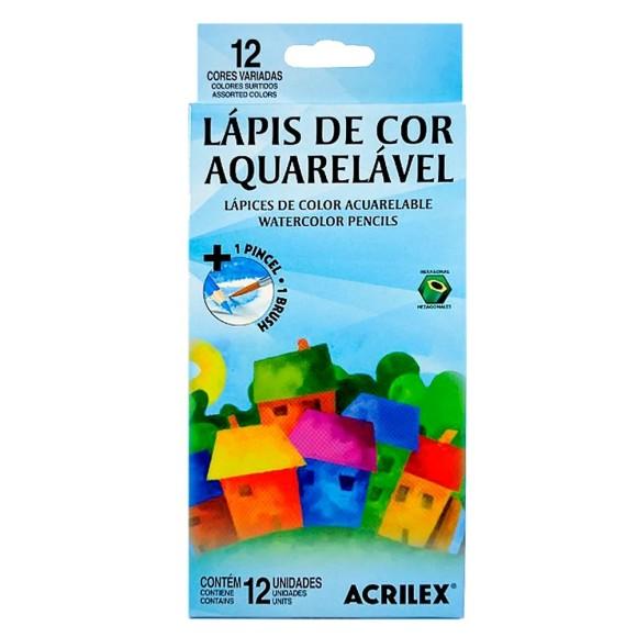 LAPIS DE COR C/12 CORES AQUARELAVEL ACRILEX