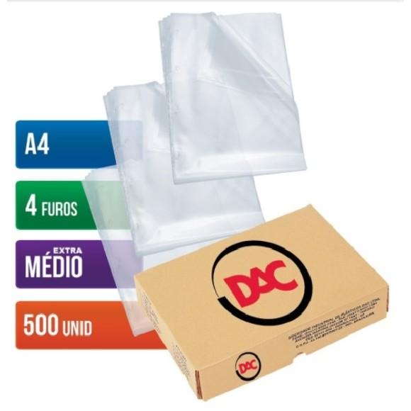 ENVELOPE PLASTICO A4 C/4 FUROS C/500 UNIDADES EXTRA MÉDIO 0,12 DAC