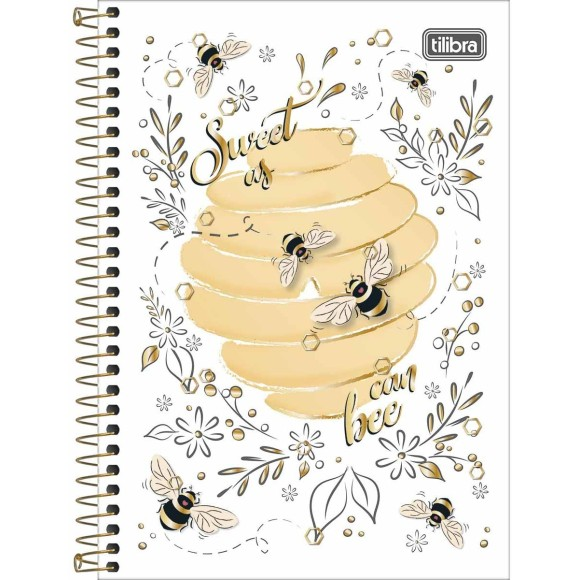 CADERNO ESPIRAL PEQUENO 1/4 80FLS HONEY BEE TILIBRA