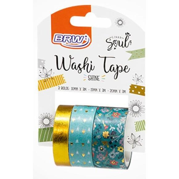 FITA WASHI TAPE SHINE VERDE 3 ROLOS 10/15/20MM 3MT WT0400 BRW
