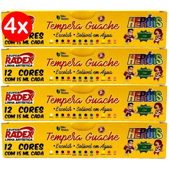 GUACHE 15ML 12 CORES C/4 UNIDADES HEROIS TEMPERA ASUPER RADEX