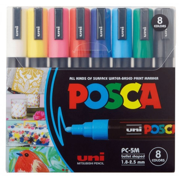 CANETA POSCA PC-5M C/8 CORES 1.8-2.5MM PC-5M-8C UNI-BALL