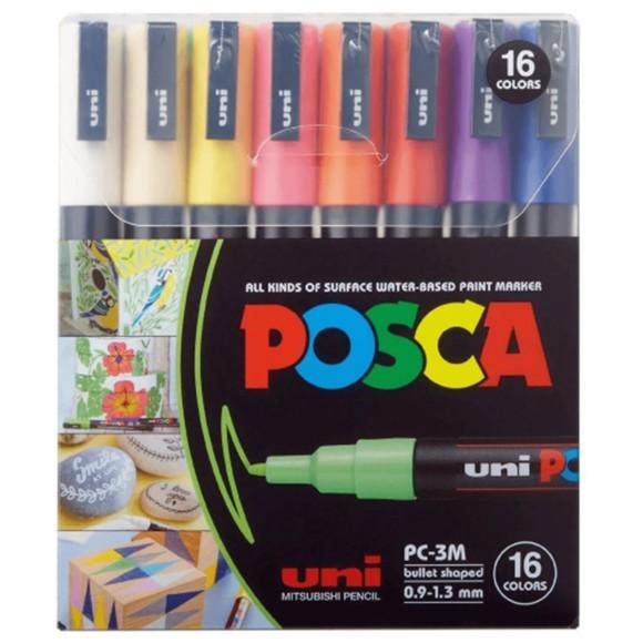 CANETA POSCA PC-3M C/16 CORES 0.9-1.3MM PC-3M-8C UNI-BALL