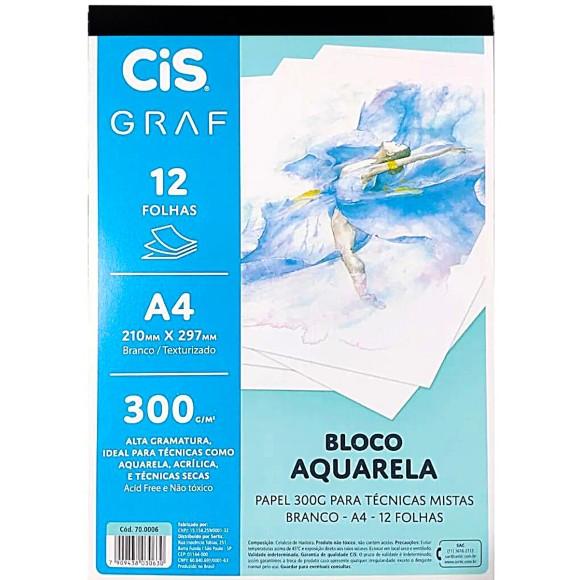 BLOCO AQUARELA C/TEXTURA A4 12FLS 300G GRAF CIS