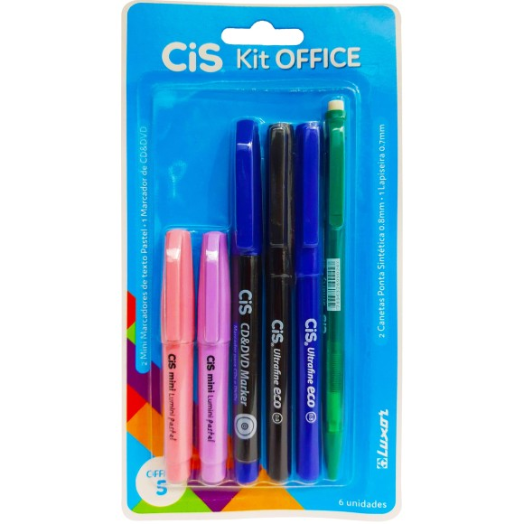 KIT OFFICE 5 - C/6UN 2 MINI MARCA TEXTO+1 CANETA CD/DVD+2 CANETAS+1 LAPISEIRA 0.7 CIS