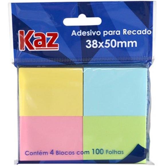 BLOCO ADESIVO 38X50MM PASTEL C/4BL C/100 FOLHAS KAZ