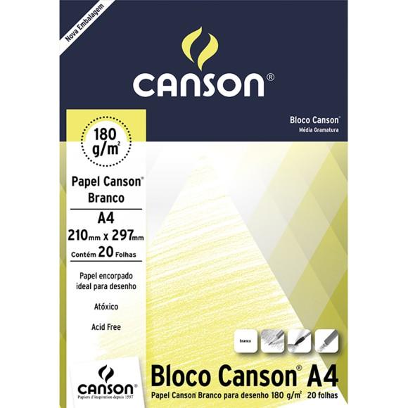 BLOCO DESENHO A4 BRANCO 180GR C/20 FOLHAS CANSON