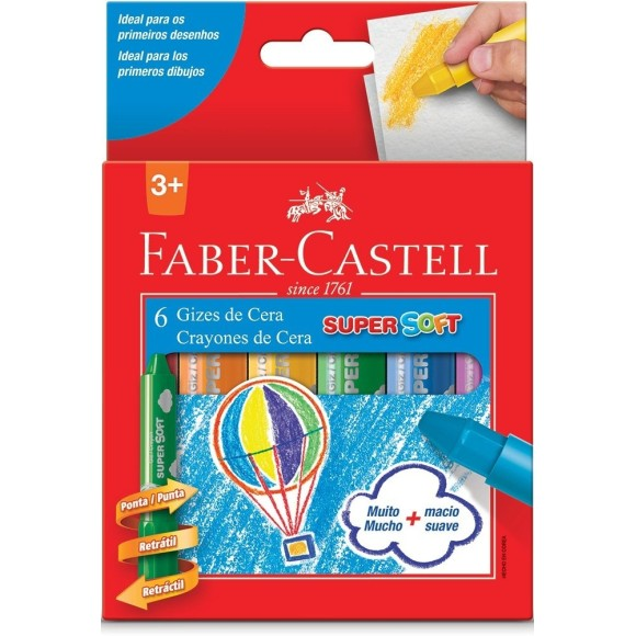 GIZ DE CERA C/6 CORES SUPER SOFT FABER CASTELL