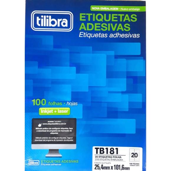 ETIQUETA 25,4MMX101,6MM CARTA TB181 100FLS 2000 ETIQS. 20 P/FOLHA TILIBRA