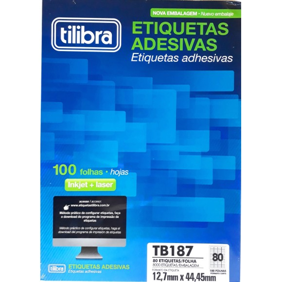 ETIQUETA 12,7X44,5 CARTA TB6187 100FLS 8000 ETIQS. 80 P/FOLHA TILIBRA