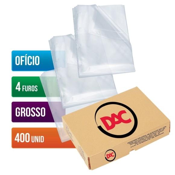 ENVELOPE PLASTICO OFICIO C/4 FUROS C/400 UNIDADES GROSSO 0,15 DAC