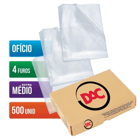 ENVELOPE PLASTICO OFICIO C/4 FUROS C/500 UNIDADES EXTRA MEDIO 0,12 DAC