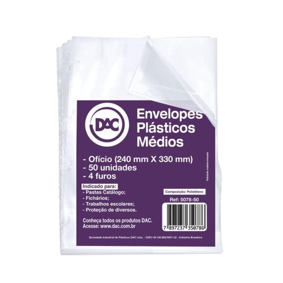 ENVELOPE PLASTICO OFICIO C/4 FUROS C/50 UNIDADES 0,15 MEDIO DAC