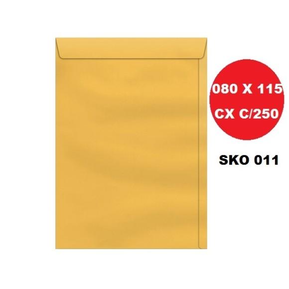 ENVELOPE SACO 080X115 OURO CAIXA C/250 SCRITY