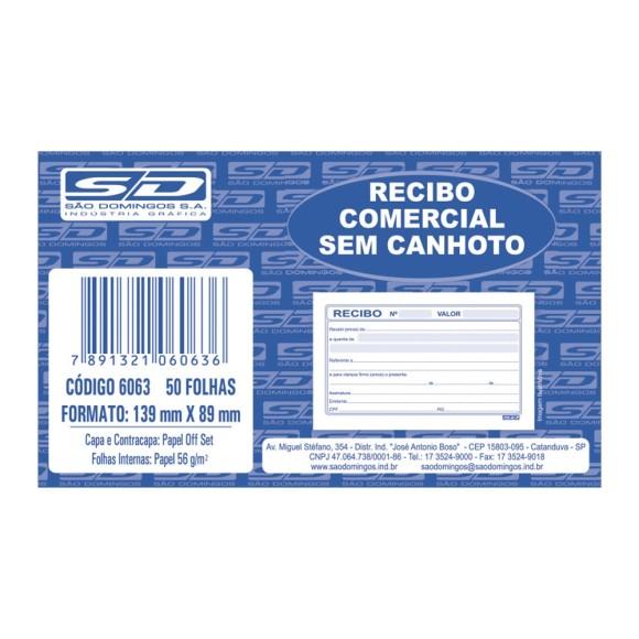 BLOCO RECIBO COMERCIAL S/CANHOTO C/50 FOLHAS SAO DOMINGOS