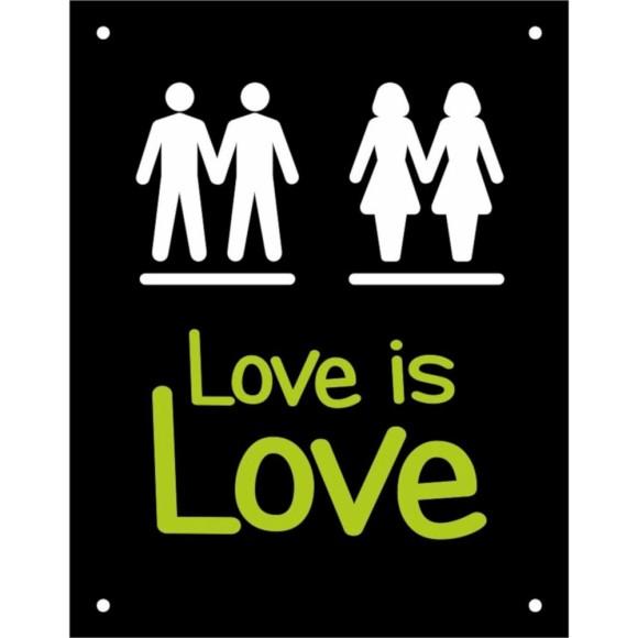 PLACA DECORATIVA LOVE IS LOVE 18X23CM SINALIZE