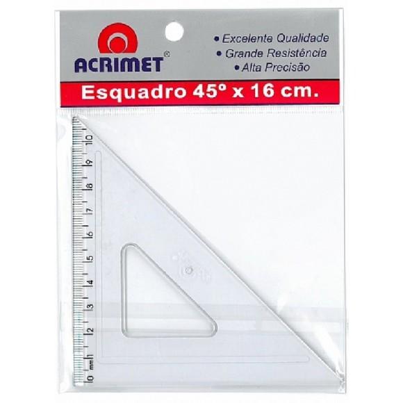 ESQUADRO 45º 16 CM COM ESCALA ACRILICO ACRIMET