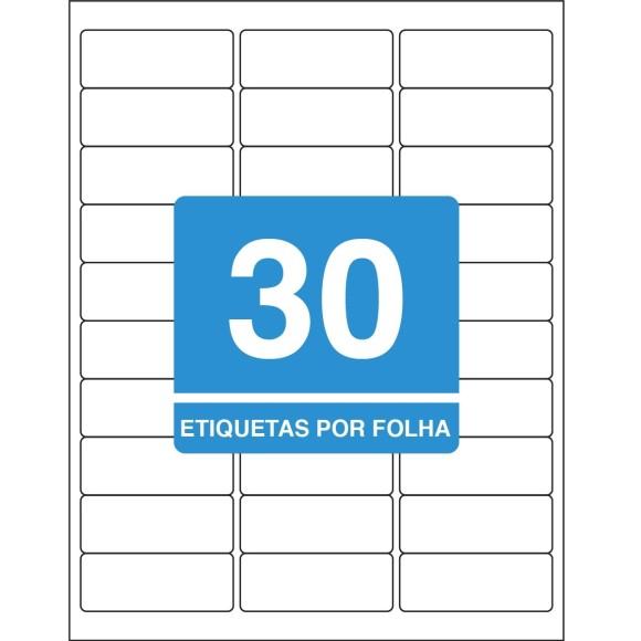 ETIQUETA 25,4MMX66,7MM CARTA TB6180 100FLS 3000 ETIQS. 30 P/FOLHA TILIBRA