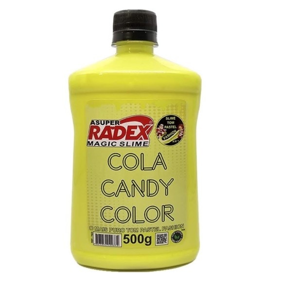 COLA CANDY COLOR SLIME 500 GR AMARELO PASTEL ASUPER RADEX