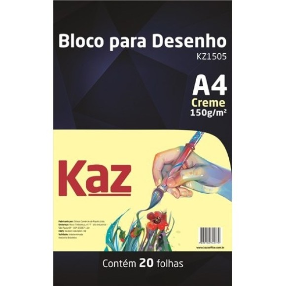 BLOCO DESENHO A4 CREME 150GR C/20 FOLHAS KAZ