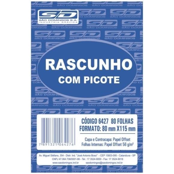 BL. RASCUNHO PEQUENO BRANCO C/PICOTE C/80 FOLHAS SAO DOMINGOS