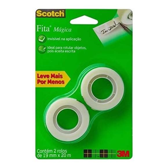 FITA MAGICA 19MM X 20M INVISIVEL C/2 ROLOS SCOTCH 3M