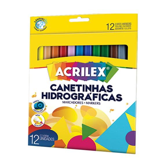 CANETINHA HIDROGRAFICA 12 CORES ACRILEX