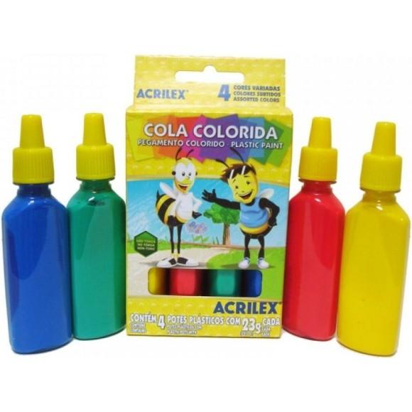 COLA COLORIDA 23GR 4 CORES ACRILEX