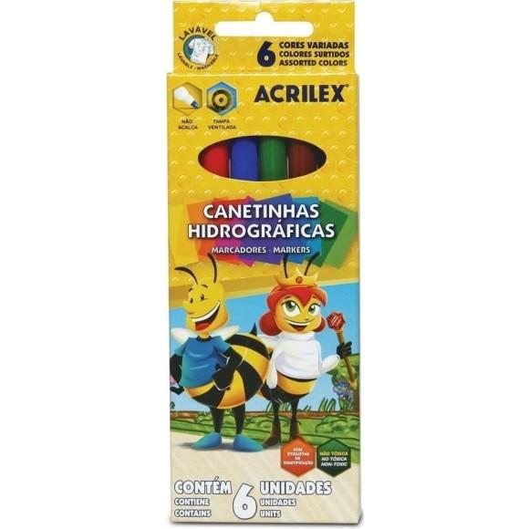 CANETINHA HIDROGRAFICA 6 CORES ACRILEX