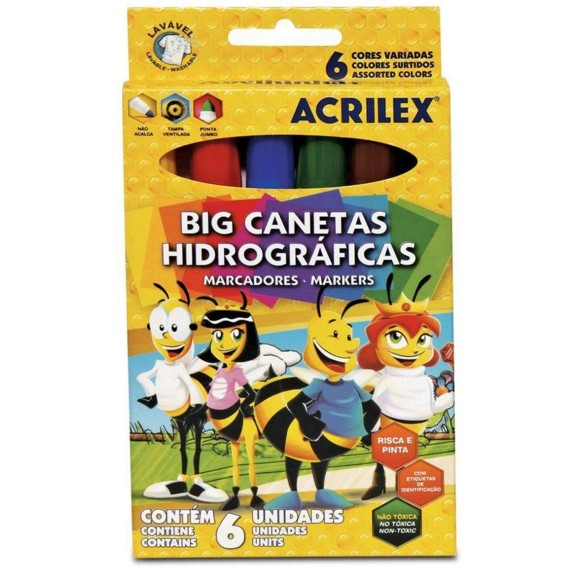 CANETINHA HIDROGRAFICA 6 CORES JUMBO BIG ACRILEX