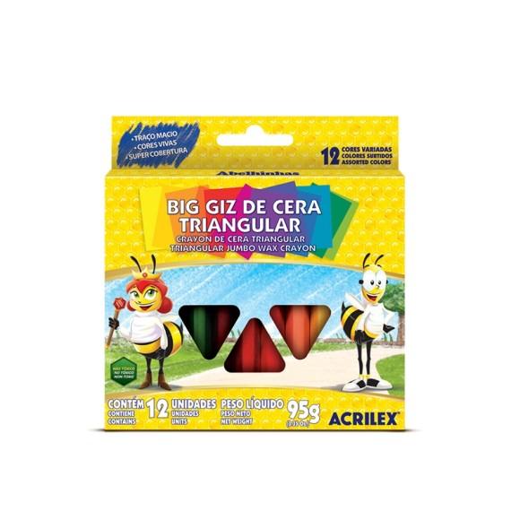 GIZ DE CERA GIZAO TRIANGULAR C/12 CORES ACRILEX