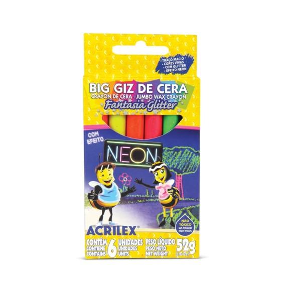 GIZ DE CERA C/6 CORES BIG NEON GLITTER ACRILEX