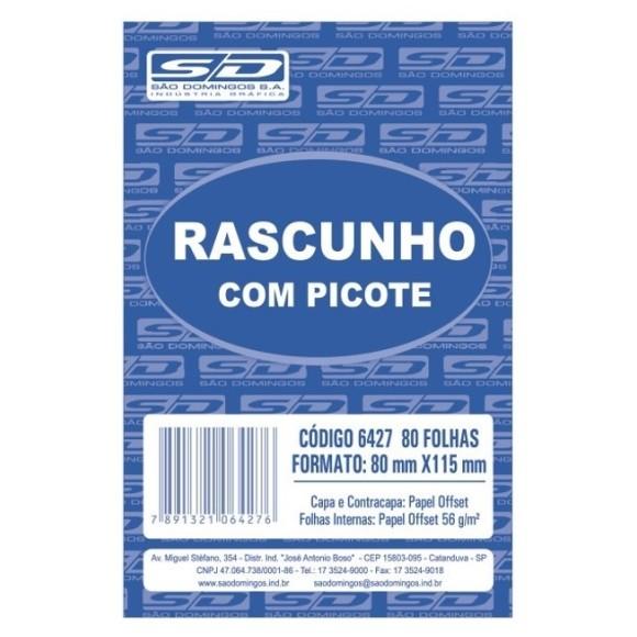 BLOCO RASCUNHO MEDIO BRANCO C/PICOTE C/100 FOLHAS SAO DOMINGOS