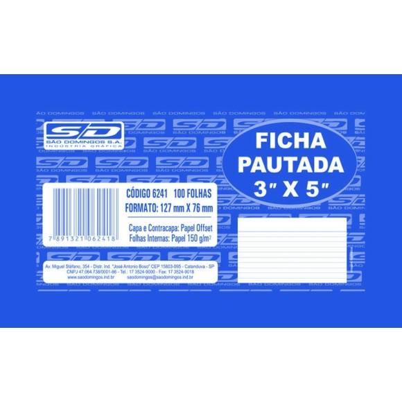 FICHA PAUTADA 3X5 PCT C/100 FOLHAS SAO DOMINGOS