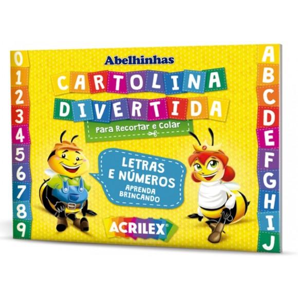 BLOCO CARTOLINA DIVERTIDA LETRAS/NUMEROS ACRILEX