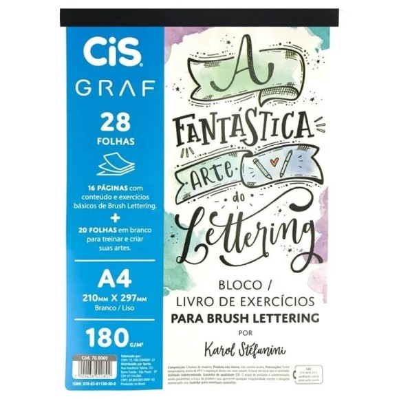 BLOCO BRUSH LETTERING 28FLS 180G/M² CIS GRAF