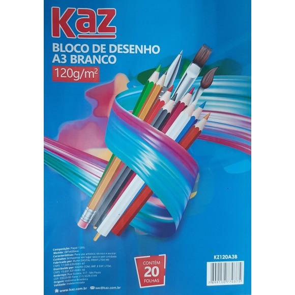BLOCO DESENHO A3 BRANCO 120G/M² C/20 FOLHAS KAZ