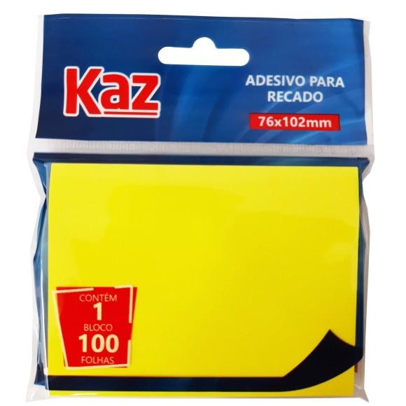 BLOCO ADESIVO 76x102 AMARELO C/100 FOLHAS KAZ