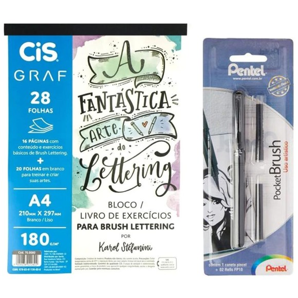 KIT LETTERING BLOCO CIS GRAF+BRUSH POCKET PENTEL
